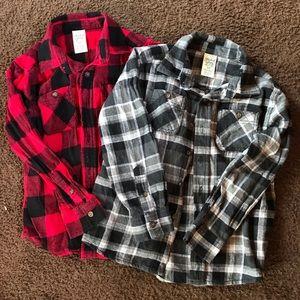 Boys Plaid Flannel Shirt Bundle (2)